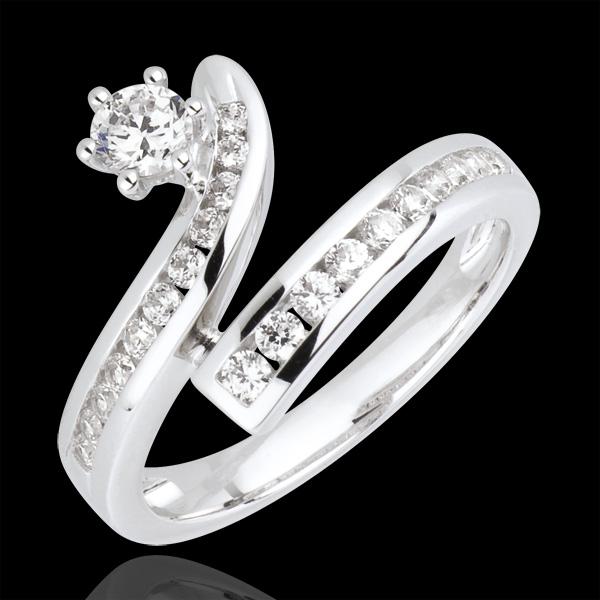 Bague la bonne étoile diamants et or blanc 18 carats