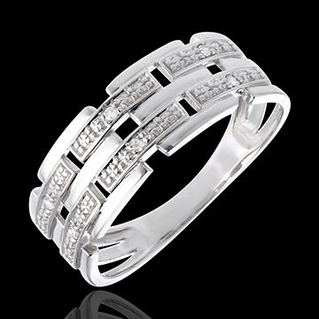 Bague canevas or blanc 18 carats pavée diamants - 6 diamants