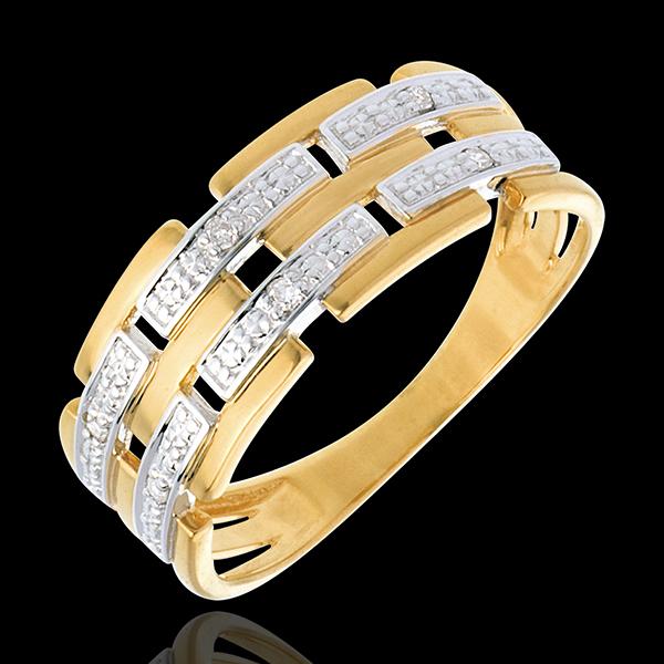 Bague Canevas pavée diamants - 6 diamants - or blanc et or jaune 18 carats