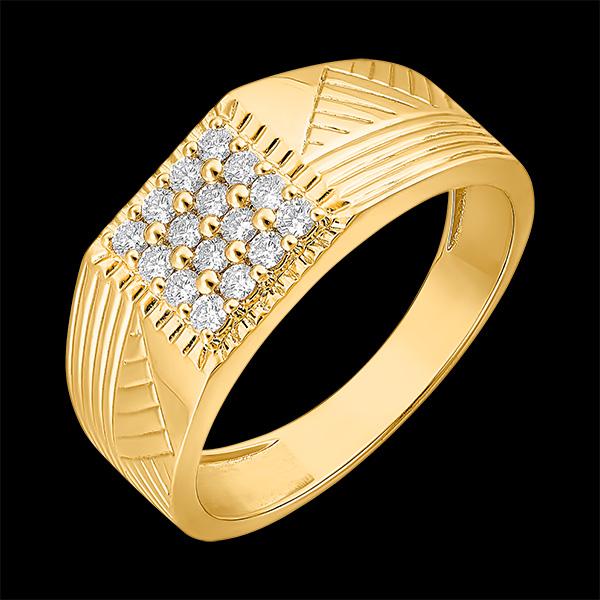 Bague Clair Obscur - Chevalière Gravures - or jaune 18 carats et diamants