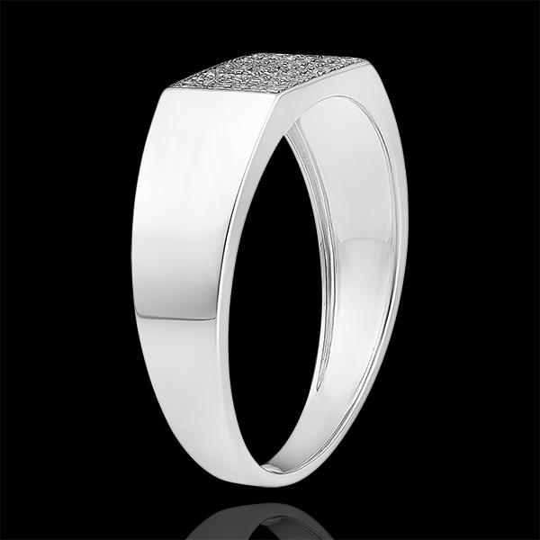 Bague Clair Obscur - Chevalière Hector Diamants - or blanc 9 carats et diamants