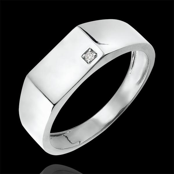 Bague Clair Obscur - Chevalière Hector - or blanc 9 carats et diamant