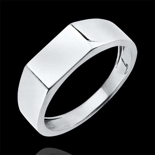 Bague Clair Obscur - Chevalière Hector - or blanc 9 carats