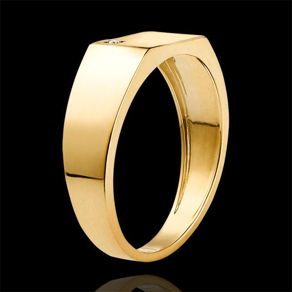 Bague Clair Obscur - Chevalière Hector - or jaune 9 carats et diamant