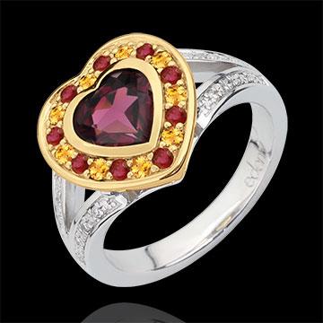 Bague Coeur en Merveille Rhodolite - Argent, diamants et pierres fines
