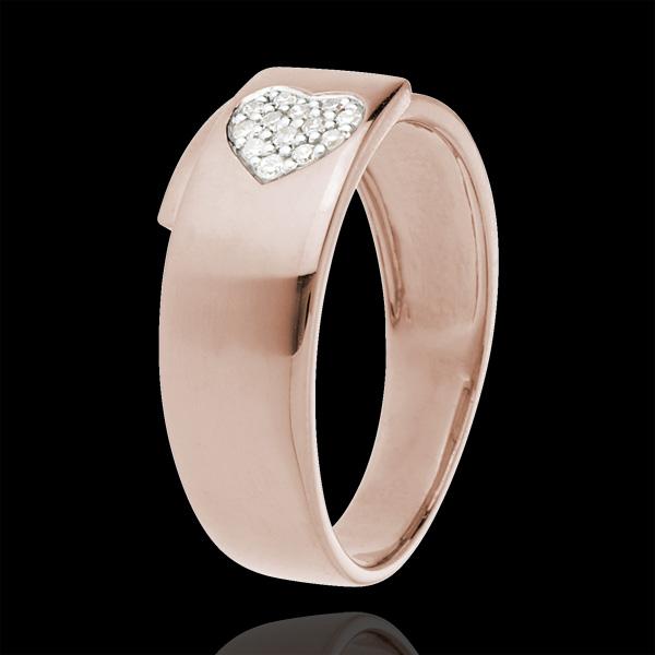 Bague coeur or rose 18 carats et diamants