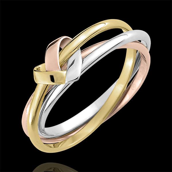Bague Coeur Pliage 3 anneaux - 3 ors 18 carats