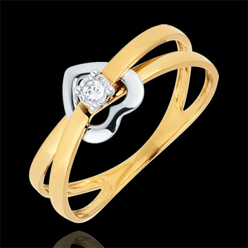 Bague Coeur Voltige - or blanc et or jaune 18 carats