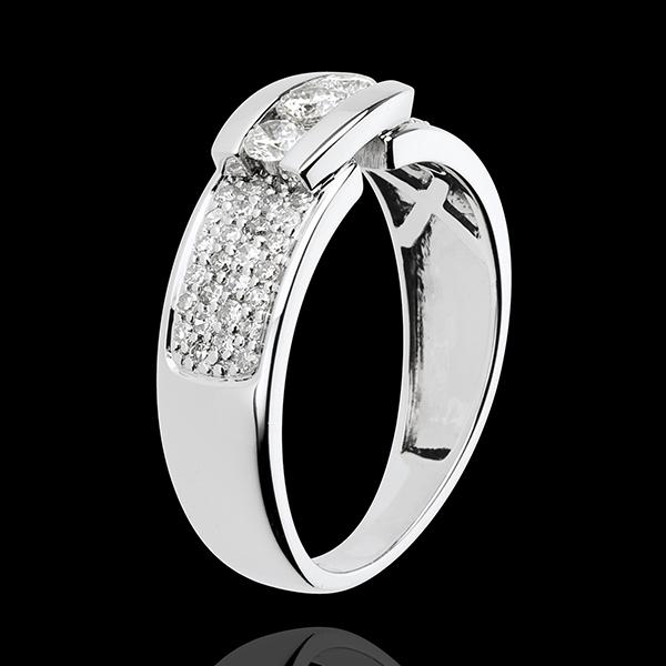 Bague Constellation - Trilogie pavée or blanc 18 carats - 0.509 carat - 57 diamants