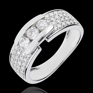 Bague Constellation - Trilogie pavée or blanc 18 carats - 0.84 carat - 59 diamants