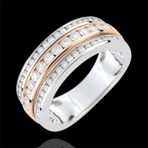 Bague Constellation - Voie Lactée - diamant 0.63 carat - 52 diamants - or blanc et or rose 18 carats