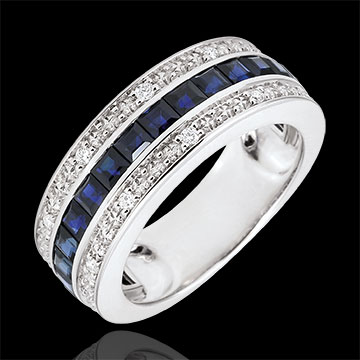 Bague Constellation - Zodiaque - saphirs bleus et diamants - or blanc 9 carats