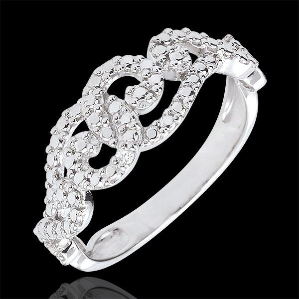 Bague Destinée - Arabesques Entrelacées - or blanc 9 carats et diamant