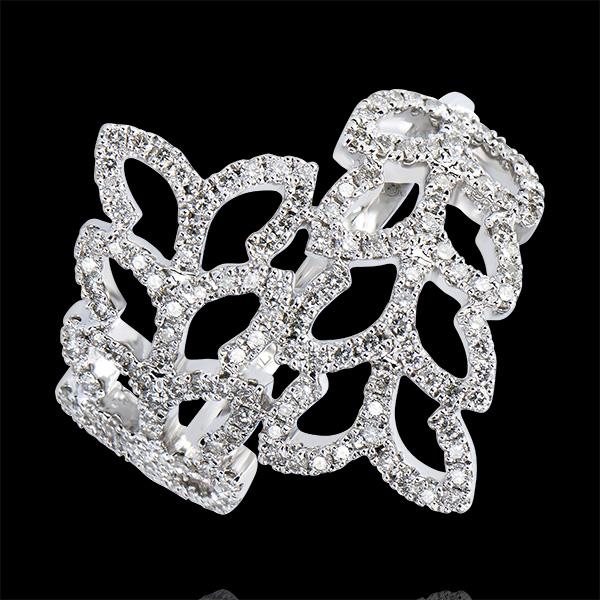 Bague Destinée - Feuilles de Saule - or blanc 9 carats et diamants