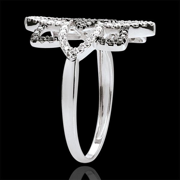 Bague Destinée - Fleur de Lune - or blanc 9 carats et diamants noirs