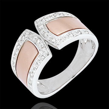 Bague Destinée - Impériale et diamants - or blanc et or rose 18 carats