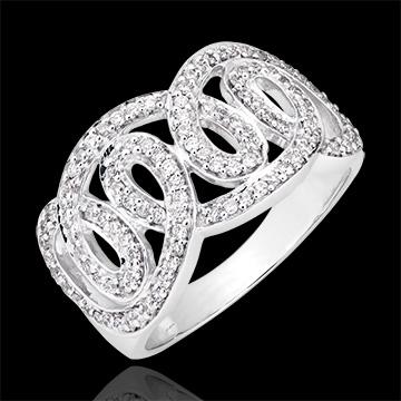 Bague Destinée - Volutes impériales - or blanc 9 carats et diamants