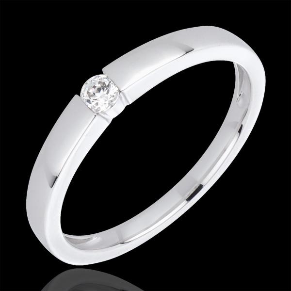 Bague diamant solitaire Vera or blanc 18 carats