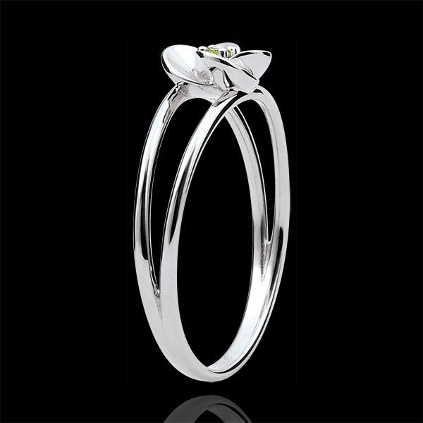 Bague Eclosion - Première Rose - or blanc 9 carats et péridot