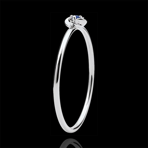 Bague Éclosion - Première Rose - Petit Modèle - or blanc 18 carats et saphir