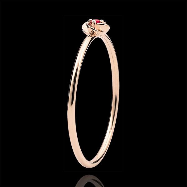 Bague Eclosion - Première Rose - Petit Modèle - or rose 9 carats et rubis