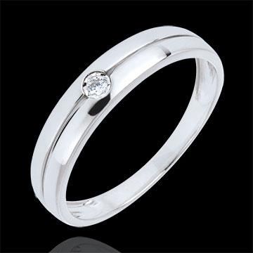 Bague Edenité or blanc 9 carats et diamant - diamant 0.022 carat