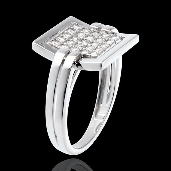 Bague empreinte or blanc 18 carats pavée - 0.45 carats - 25 diamants