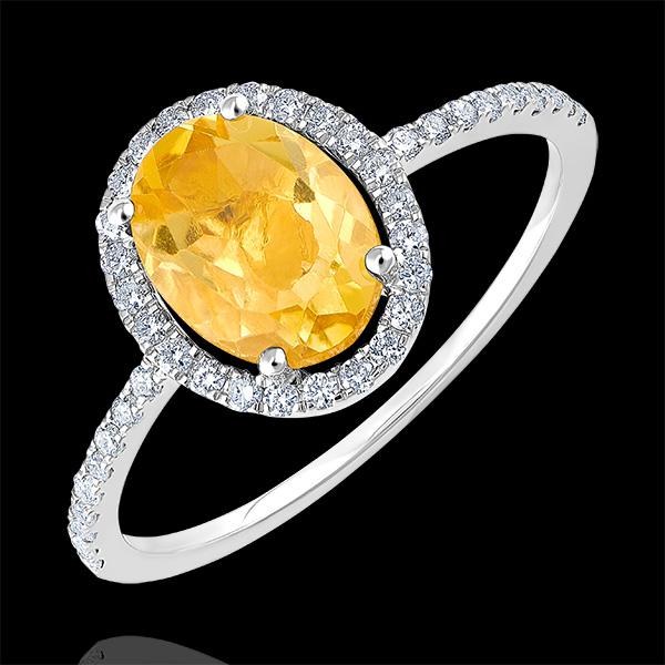 Bague Eternel Edelweiss - Anaé - or blanc 9 carats - Citrine et diamants