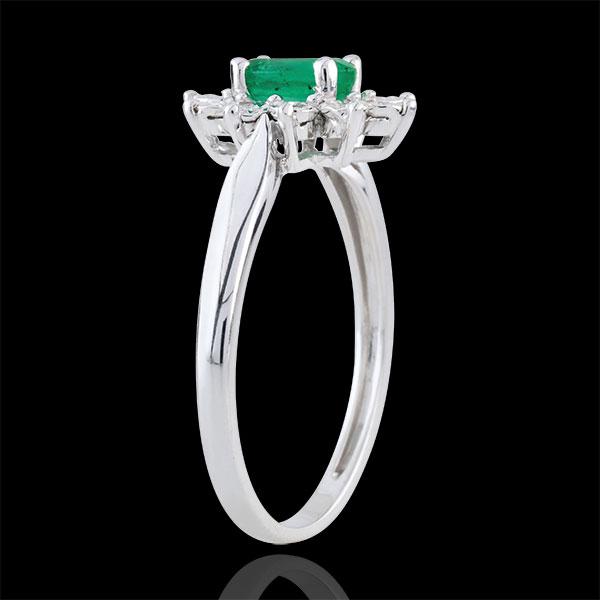 Bague Eternel Edelweiss - émeraude et diamants - or blanc 9 carats
