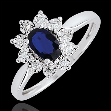 Bague Eternel Edelweiss - Marguerite Illusion - saphir et diamants - or blanc 9 carats