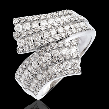 Bague Féérie - Écharpe pavée - 1.1 carats - 108 diamants - or blanc 18 carats