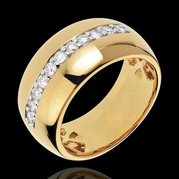Bague Féérie - Eclat solaire - or jaune 18 carats - 11 diamants : 0.37 carats