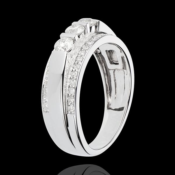 Bague Féérie - Trilogie demi-pavée - 0.77 carat - 57 diamants - or blanc 18 carats