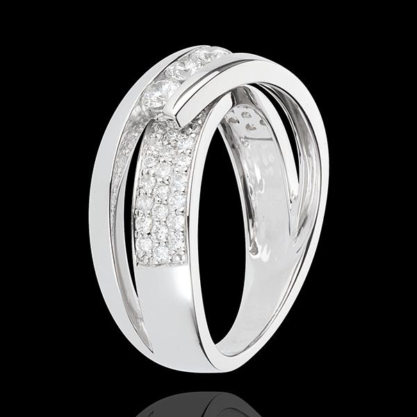 Bague Féérie - Trilogie Funambule or blanc 18 carats pavé - 0.62 carats - 45 diamants