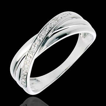 Bague Saturne Duo variation - or blanc 18 carats - 4 diamants