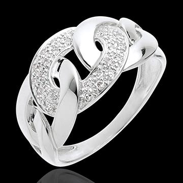 Bague sautoir or blanc 18 carats pavé - 24 diamants