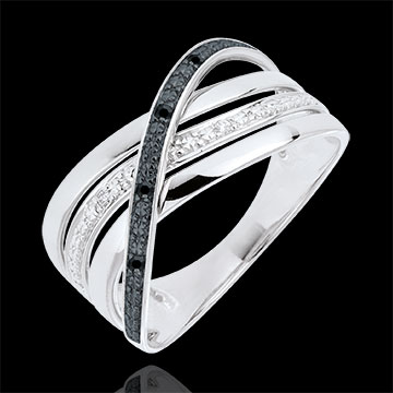 Bague Saturne Quadri - or blanc 9 carats - diamants noirs et blancs