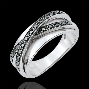 Bague Saturne Miroir - or blanc 9 carats et diamants noirs - 23 diamants