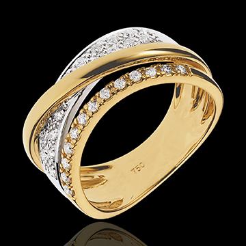 Bague Royale Saturne variation - or blanc et or jaune 18 carats