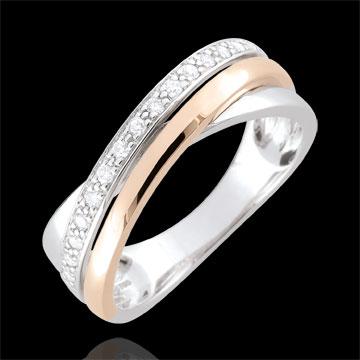 Top Bague anneaux et diamants - or blanc et or rose 18 carats : bijoux  QU26