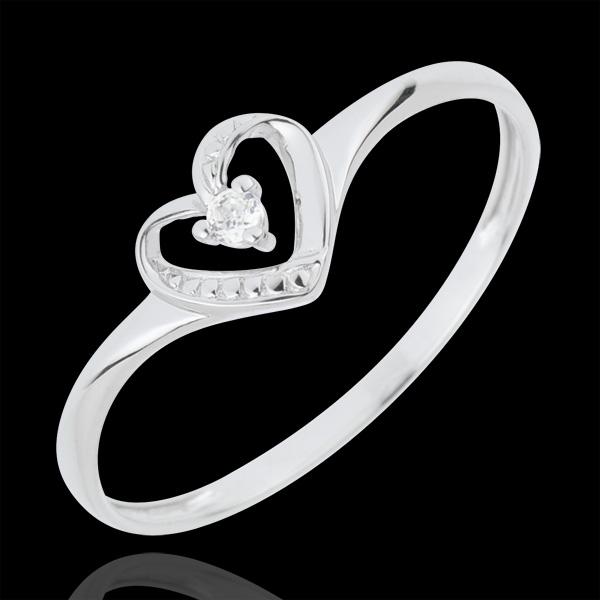 Bien-aimé Bague Solitaire Coeur D'Amour - or blanc 18 carats : bijoux Edenly OE09