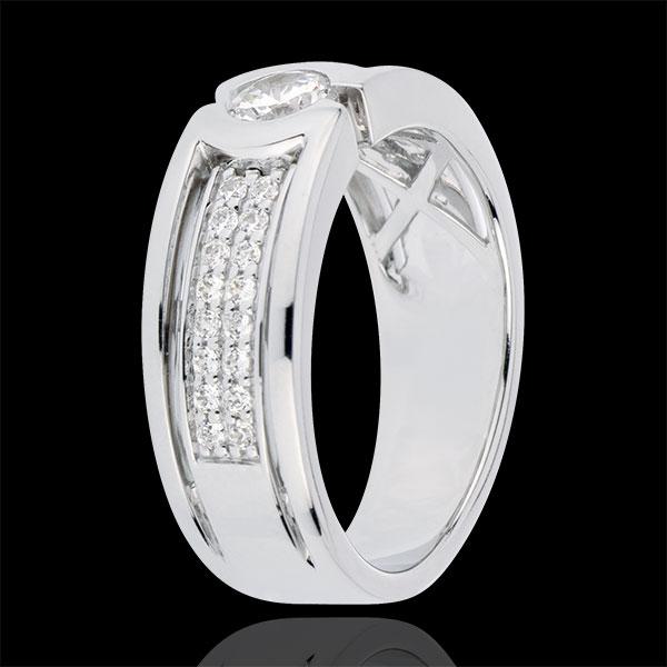 Bague de fiançailles Constellation - Diamant Solitaire - diamant 0.35 carat - or blanc 18 carats