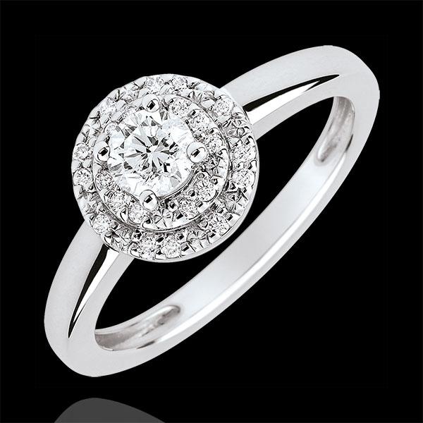 Bague de Fiançailles Destinée - Double halo - diamant 0.25 carat - or blanc 18 carats