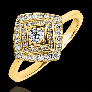 Bague de Fiançailles Destinée - Double Halo Géométrique - or jaune 18 carats et diamants