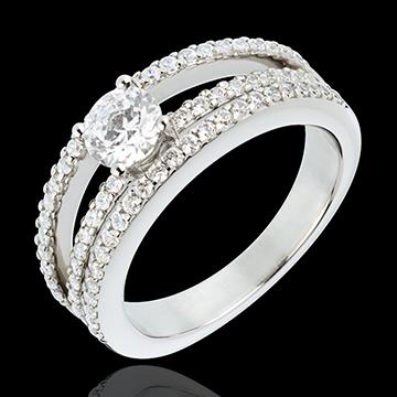 Bague de Fiançailles Destinée - Duchesse - diamant central 0.5 carat - 67 diamants - or blanc 18 carats
