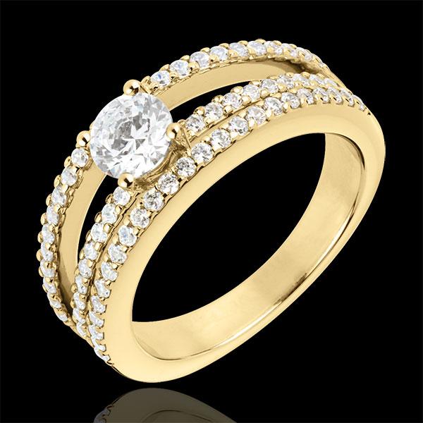 Bague de Fiançailles Destinée - Duchesse - or jaune 18 carats - diamant central 0.5 carat - 67 diamants