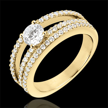 Bague de Fiançailles Destinée - Duchesse - or jaune 18 carats - diamant central 0.5 carat - 67 diamants