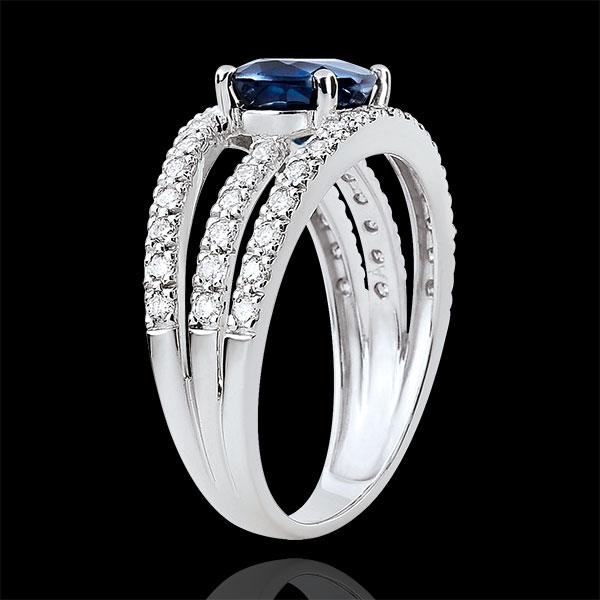 Bague de Fiançailles Destinée - Duchesse variation - saphir 1.7 carats et diamants - or blanc 18 carats