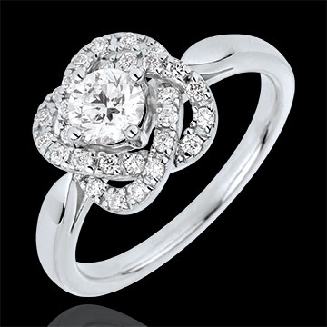 Bague Solitaire Rose De Carat - or blanc 18 carats
