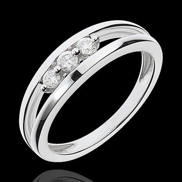 Bague trilogie abîme or blanc 18 carats - 3 diamants